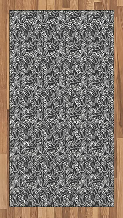 Amazoncom Ambesonne Grey And White Area Rug Botanical Pattern