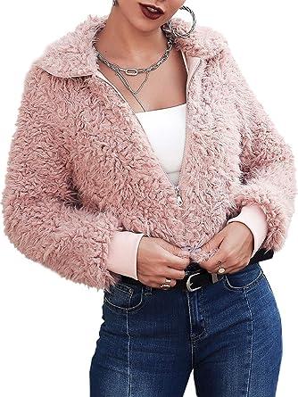 d852ea0a06ab D Jill Women's Winter Warm Long Sleeve Zipper Faux Fur Coat Jacket Pink