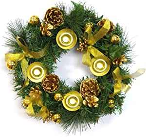 Mega Candles Christmas Advent Wreath with Gold Ribbon Accents and Gold Ring Candle Holder, Great Holiday Traditional Décor