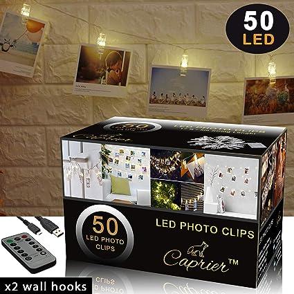 Amazon.com: CAPRIER Fotos Clips Cuerda de Luz, Clips de Foto ...