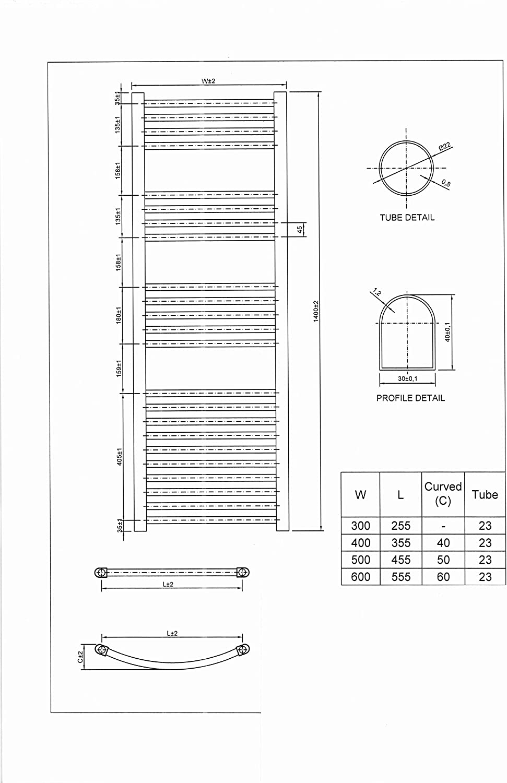 HB Essentials Zeno Black Curved Ladder Heated Towel Rail 1400mm x 400mm Central Heating