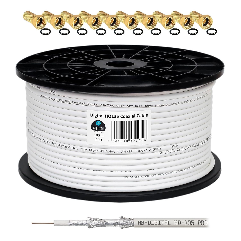 130 db 100 m Cable Coaxial SAT HQ-135 PRO 4 x escudada para DVB-S/S2 DVB-C y sistemas DVB-T BK plus 10 F-conector Dorado-Plateado incluye juego de: ...