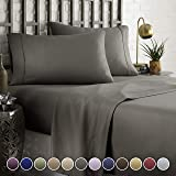 (King, Grey) - HC Collection Bed Sheet & Pillowcase Set HOTEL LUXURY 1800 Series Egyptian Quality Bedding Collection Deep Pocket, Wrinkle & Fade Resistant,Luxurious,Comfortable,Extremely Durable(King, Grey)