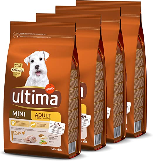 Ultima Pienso para Perros Mini con Pollo - Pack de 4 x 1.5 kg ...