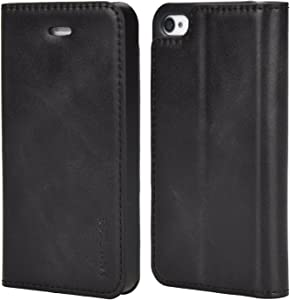 Mulbess Slim iPhone 4s Case, Flip Leather Phone Cover with Card Holder for iPhone 4 / 4s, Black