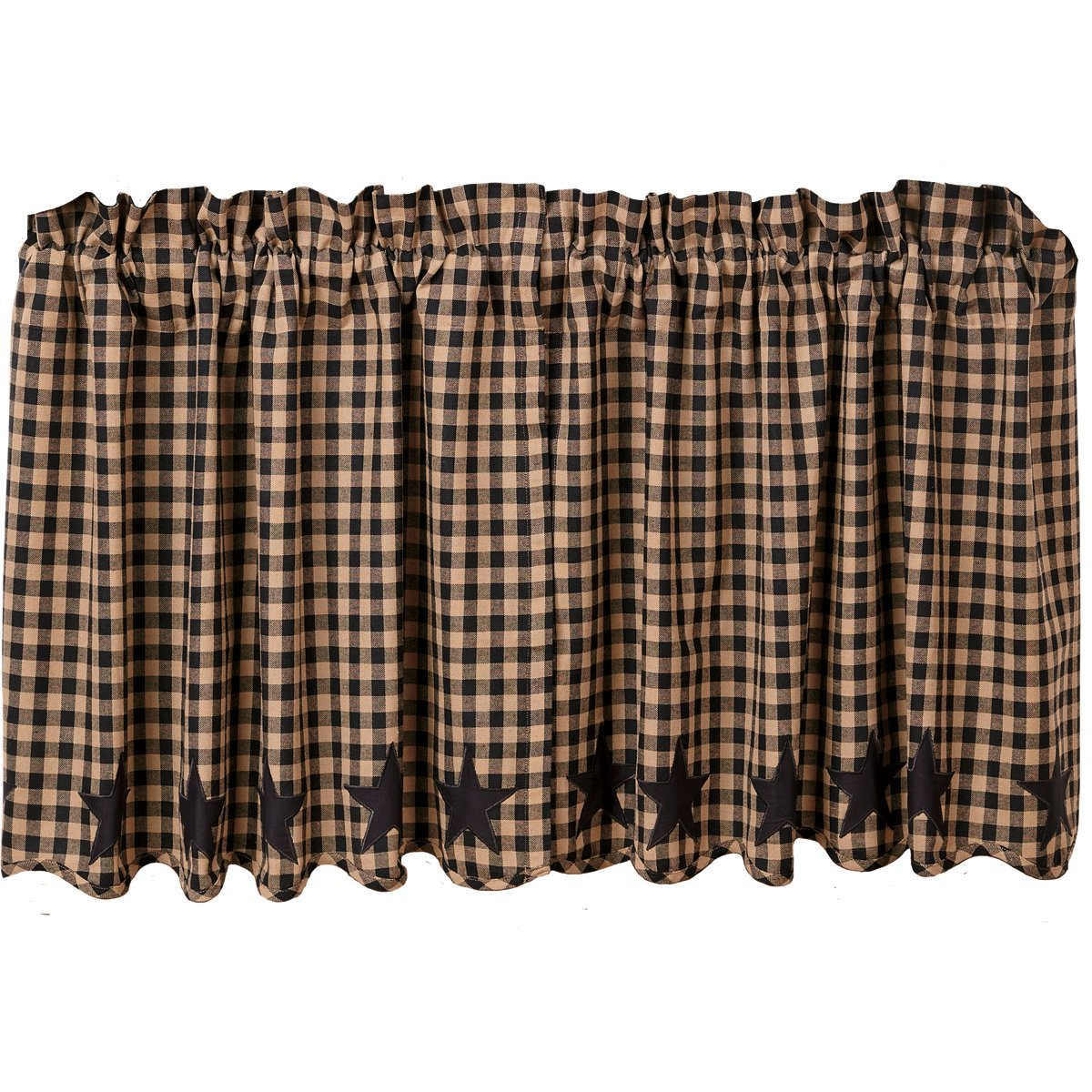 VHC Brands Classic Country Primitive Kitchen Window Curtains-Star Scalloped Tier Pair, L24 x W36, Black