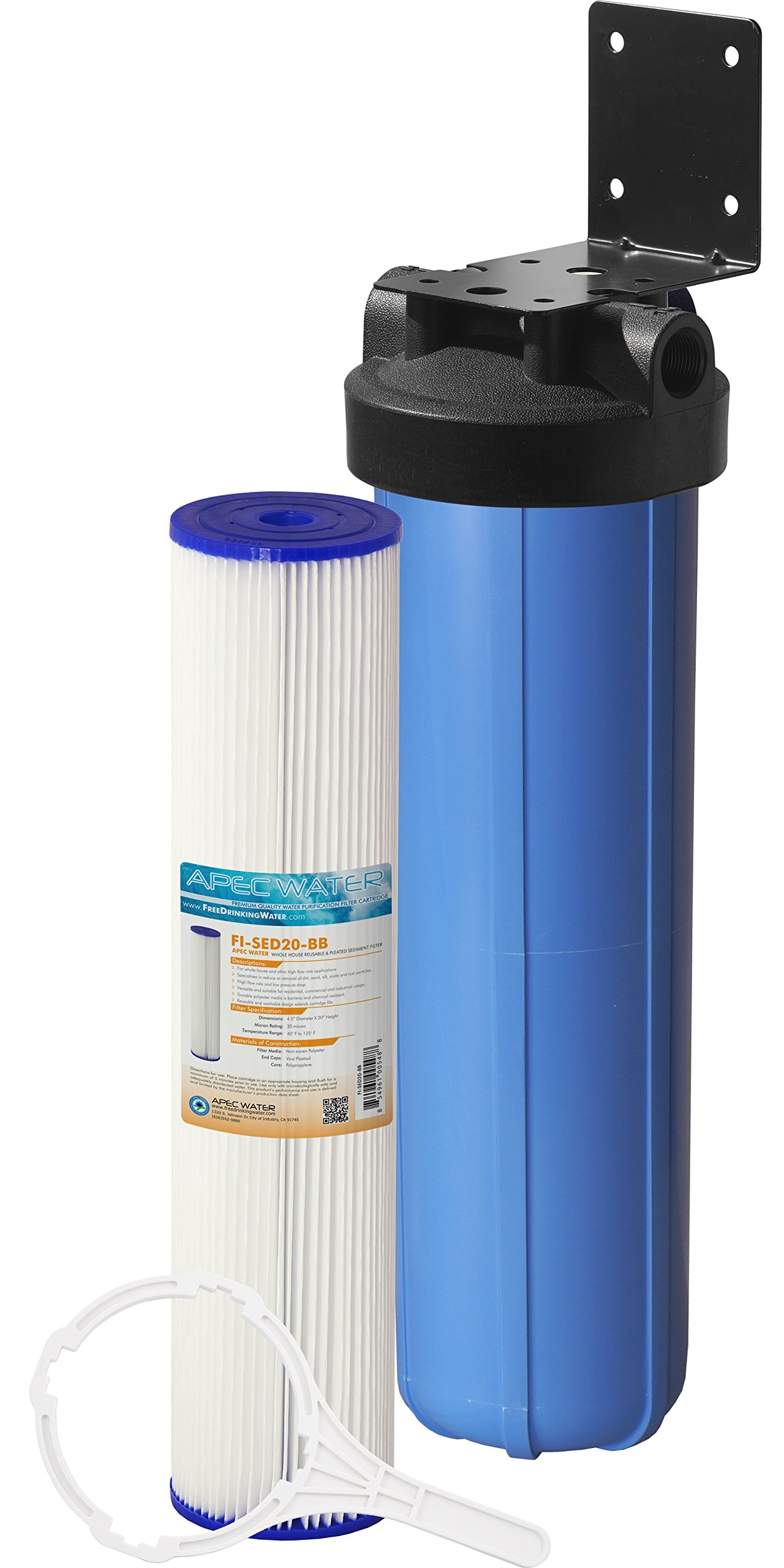 APEC Whole House Water Filter System with 20'' Big Blue Sediment Filter (CB1-SED20-BB)