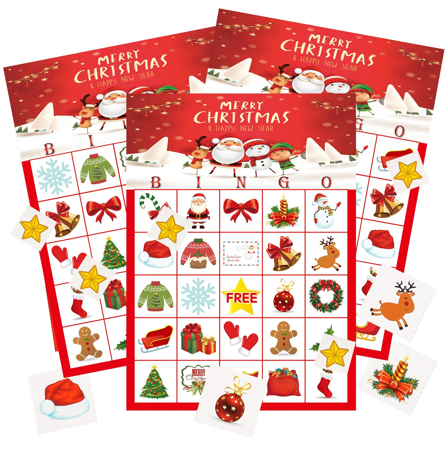 MISS FANTASY Christmas Bingo for Kids Christmas Bingo Game Christmas Party Games for Kids Xmas Activities for Family Christmas Ugly Party Games for 24 Players Xmas Gifts for Kids