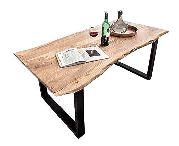 Sam Table De Salle A Manger En Bois D Acacia Avec Pieds Laques Noir