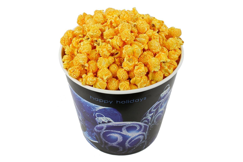 Signature Popcorn, 1-Gallon Happy Holidays Blue Ornament Reusable Plastic Tin - Gourmet Cheddar Cheese Popcorn
