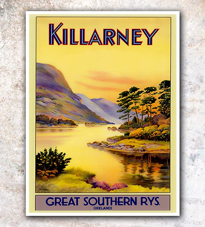 Wall art. Vintage Irish travel Reproduction poster See Ireland first