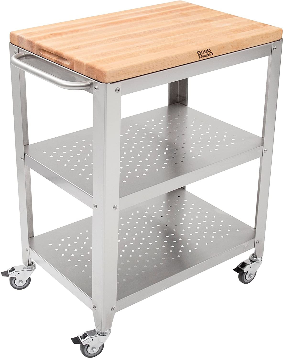 John Boos Block Culinarte Stainless Steel Kitchen Cart With 30 By 20 Inch Removable Maple Cutting Board Top Stainless Steel Shelves And Casters Kitchen Islands Carts