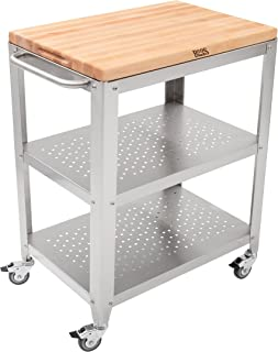 product image for John Boos Block Culinarte Stainless Steel Kitchen Cart with 30 by 20 Inch Removable Maple Cutting Board Top, Stainless Steel Shelves and Casters
