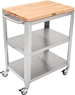 John Boos Culinarte Stainless Steel Kitchen Cart With 30 By 20 Inch  Removable Maple Cutting Board