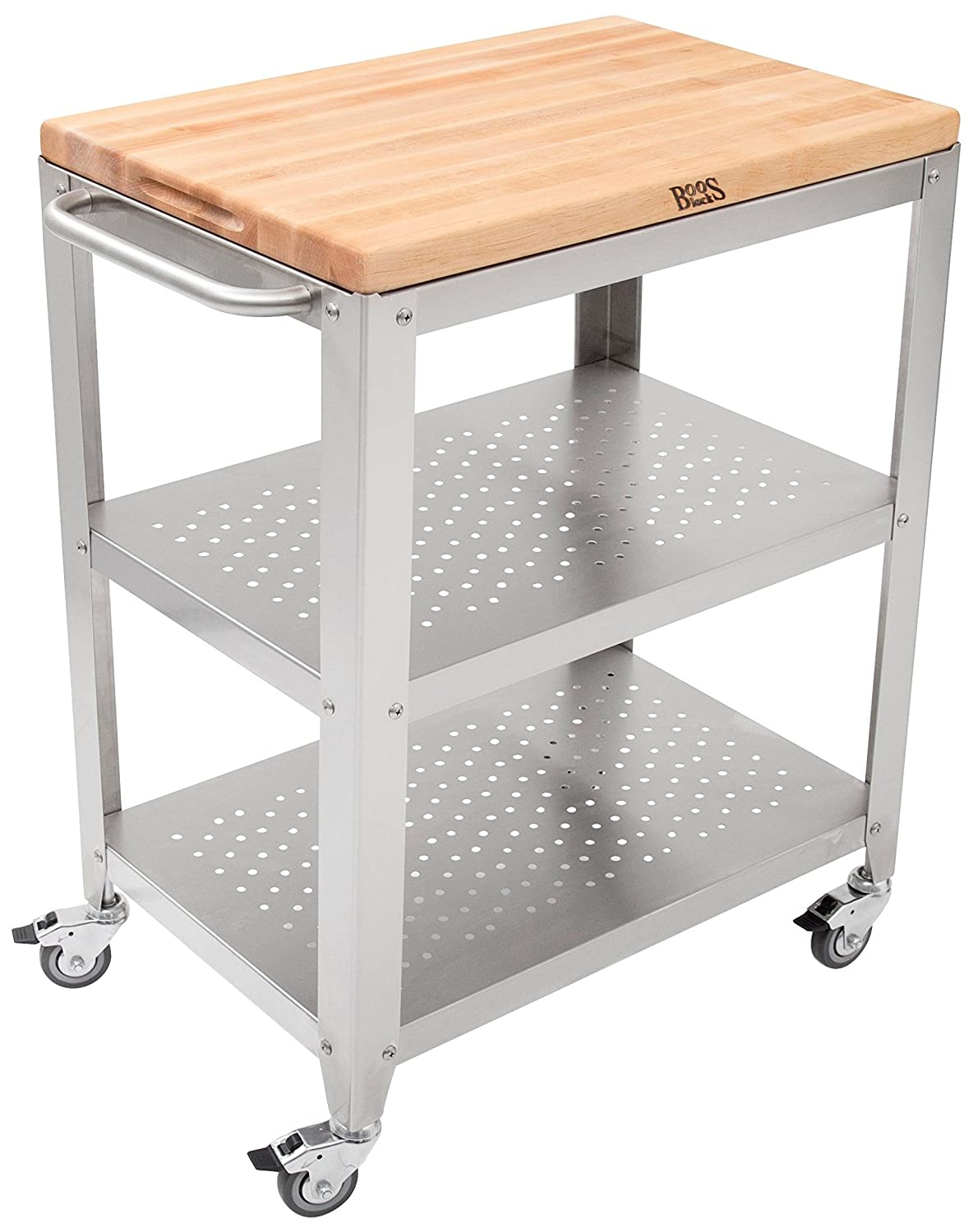 John Boos Block Culinarte Stainless Steel Kitchen Cart with 30 by 20 Inch Removable Maple Cutting Board Top, Stainless Steel Shelves and Casters