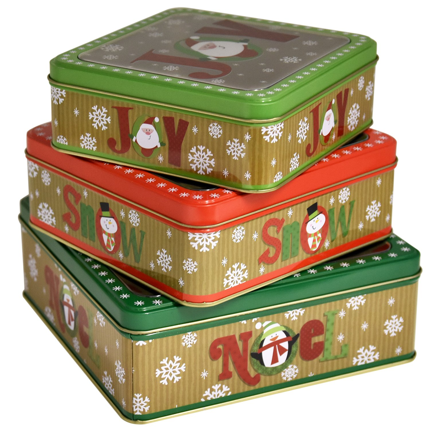 Amazon.com: Empty Winter Holiday Cookie Tins (Set of Six ...