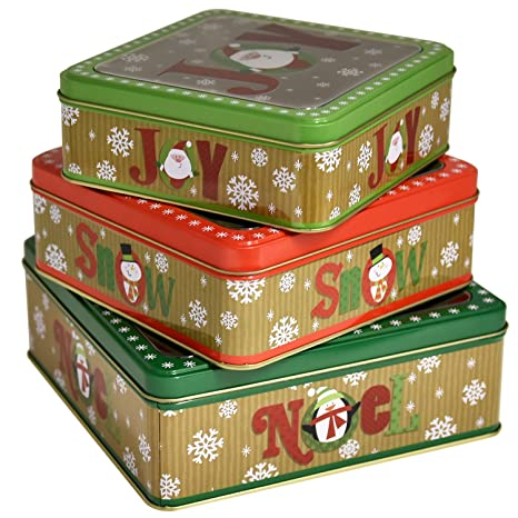 Christmas Tin Cookies.Square Christmas Cookie Tins Nesting Boxes Set Of 3 Designs Holiday Containers Party Favor Supplies With Window Metal Lid Cover By Gift Boutique