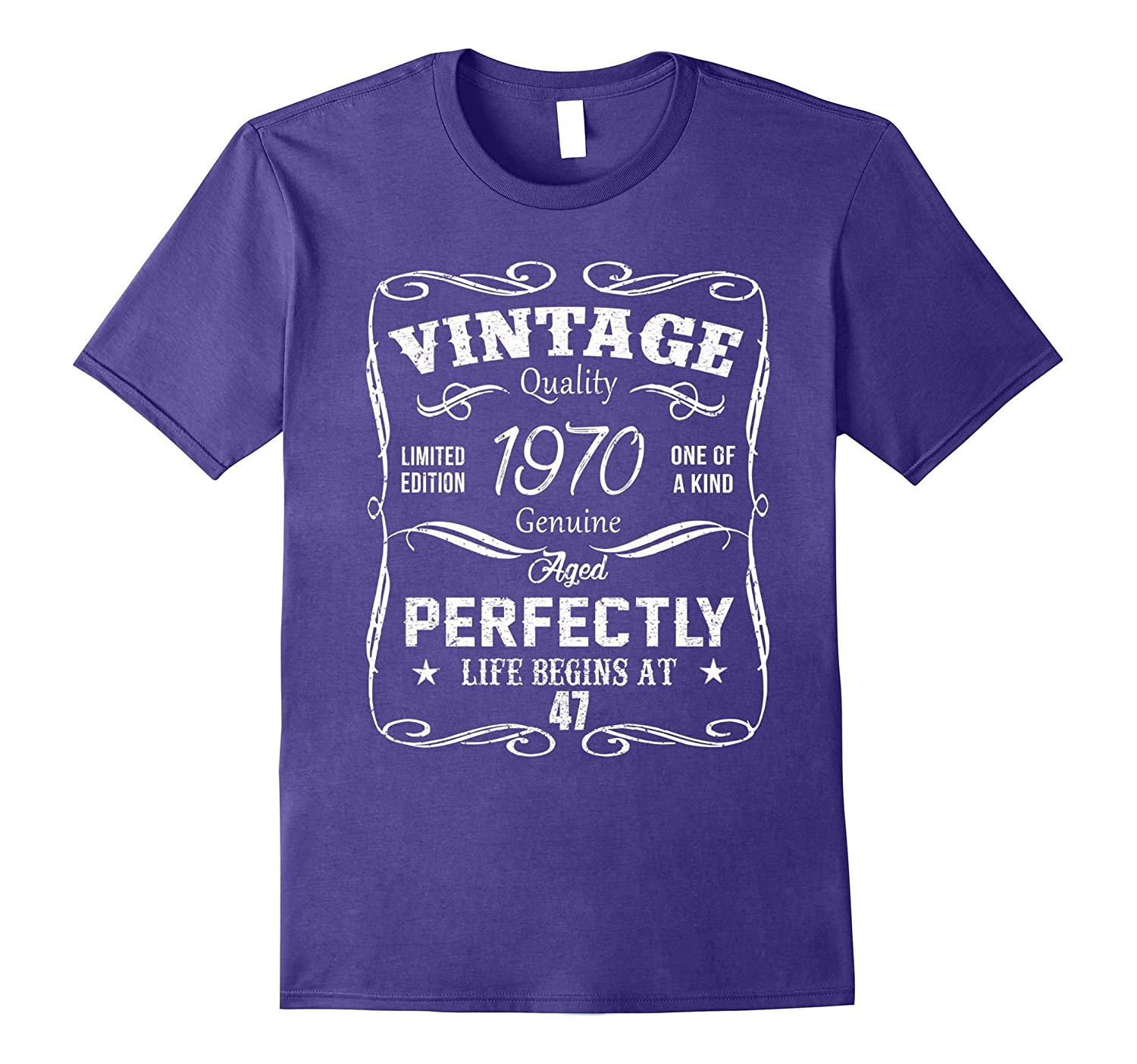 Vintage Born in 1970 47 Years Old Birthday Gift T-Shirt-FL