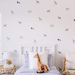"Modern Maxwell Wall Art Decals for Boys Girls Nursery, Bedroom, Living Room ""Safari"" Black Jungle Animals Room Sticker 40 Pieces"