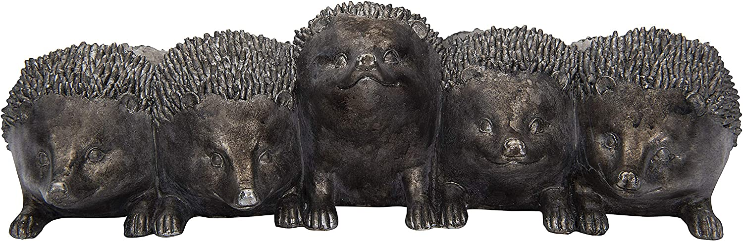 Creative Co-op Distressed Iron Resin Hedgehog Planter, Silver