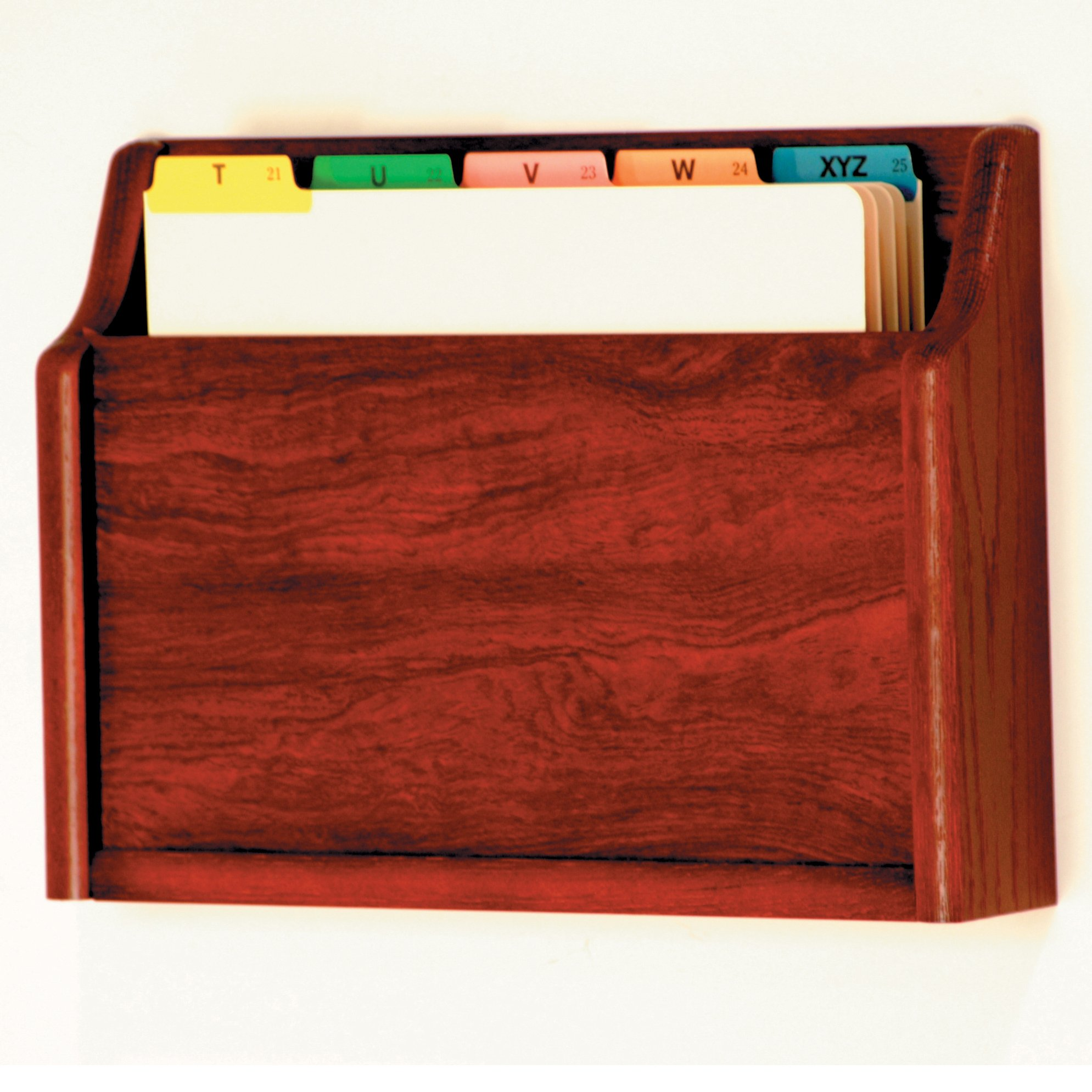 DMD Letter Size Wood Chart or File Holder, Square Bottom, Single Pocket, Wall or Desktop, Oak with Mahogany Finish