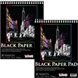 US Art Supply 11 in. x 14 in. Premium Black Heavyweight Paper Spiral Bound Sketch Pad, 140gsm, 64 Pound, 30 Sheets (Pack of 2 Pads)