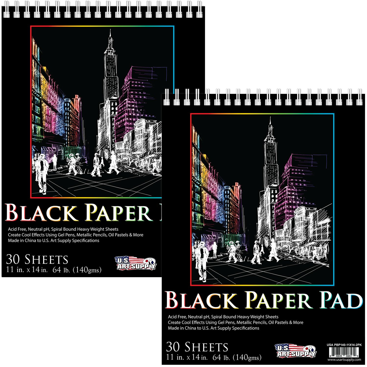 Premium Black Heavyweight Paper Spiral Bound Sketch Pad x 14 in Pack of 2 Pads US Art Supply 11 in 30 Sheets 140gsm 64 Pound