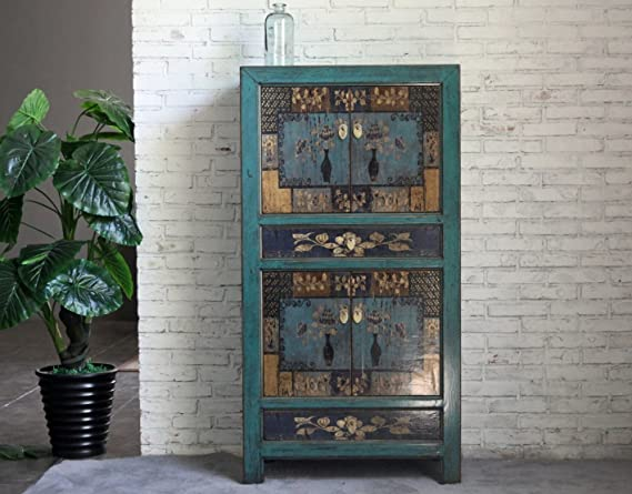 opium outlet - Armario de Boda Chino de Estilo Colonial, Vintage y Shabby Chic con Motivos Coloridos - Diseño 3: Amazon.es: Hogar