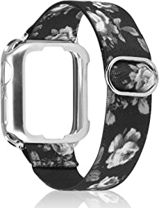 TOYOUTHS Compatible with Apple Watch Band Solo Loop Stretchy with Protective Case Adjustable Elastic Soft Nylon Scrunchies Band for iWatch Series SE/6/5/4/3/2/1 38/40MM
