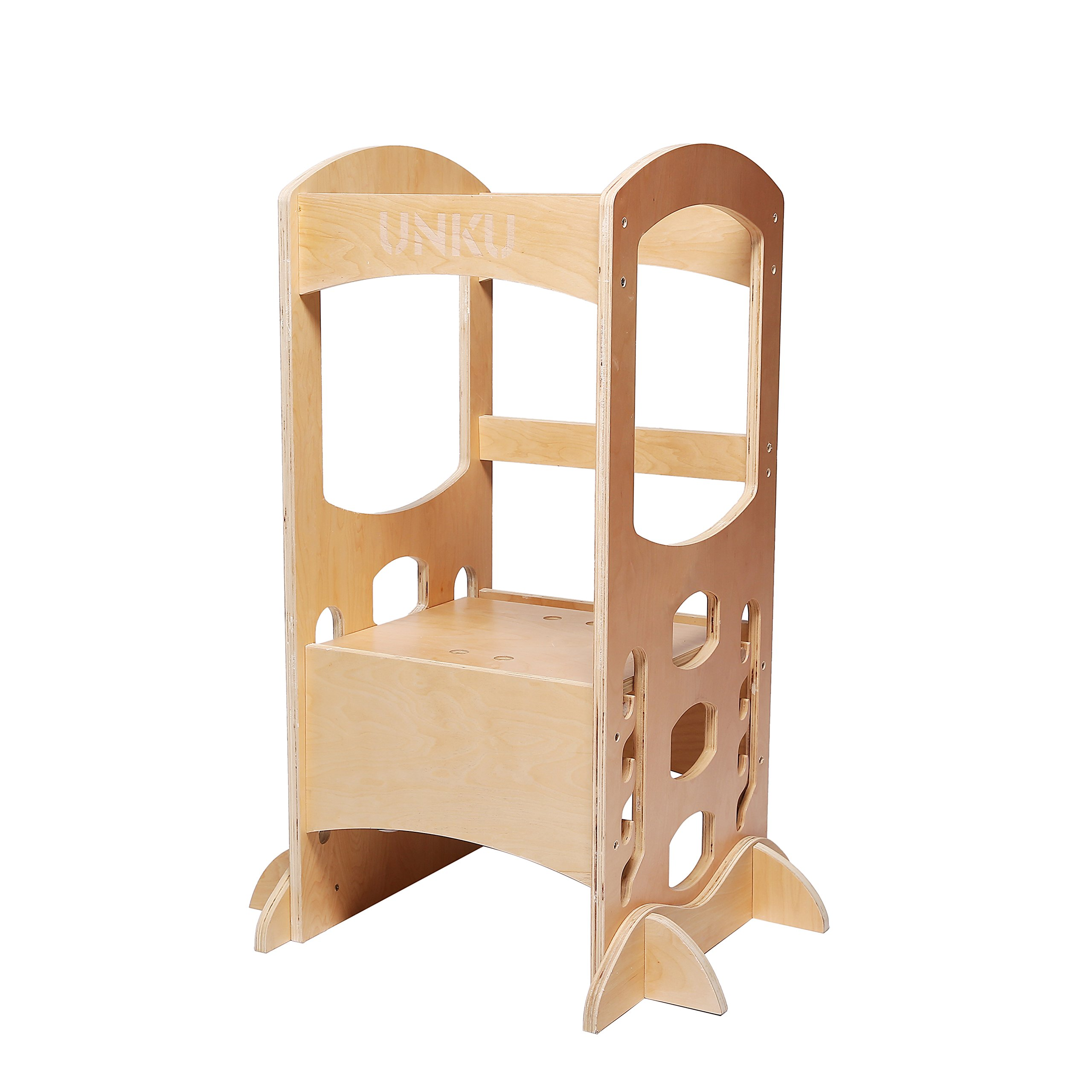 Kitchen Step Stool Little Helper Tower Adjustable Height With Safety Rail (Natural), Perfect for Toddlers