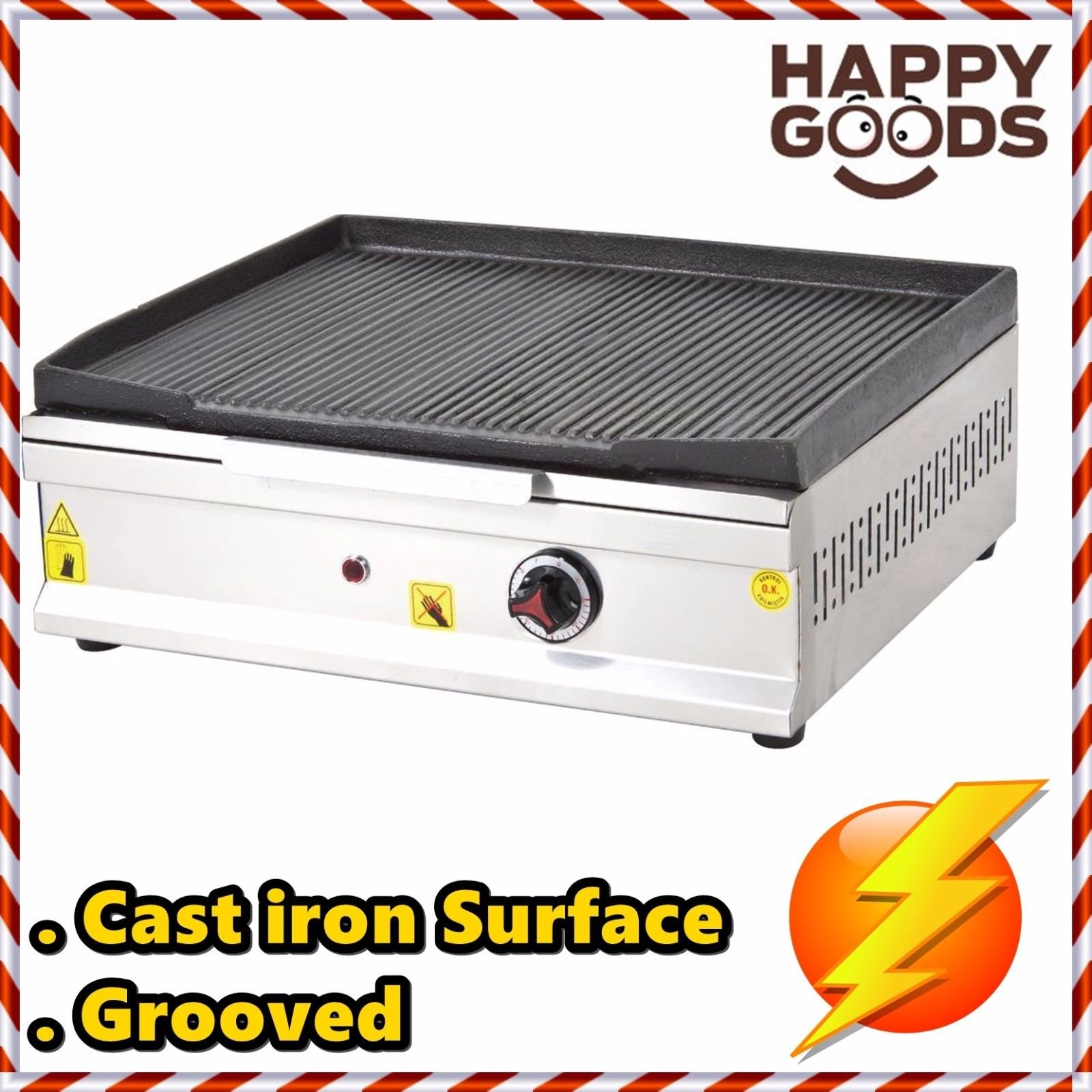 20 '' ( 50 cm ) Commercial Kitchen Equipment Electric Countertop GROOVED CAST IRON SURFACE Top Restaurant Grill Stove Cooktop Manual Griddle 220V
