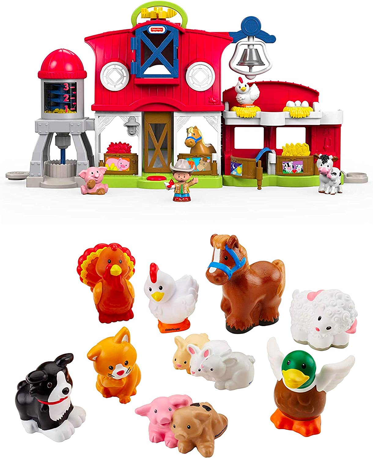 Amazon Com Fisher Price Little People Caring For Animals Farm Set Bundled Little People Farm Animal Friends With Baby Bunnies Piglets Toys Games