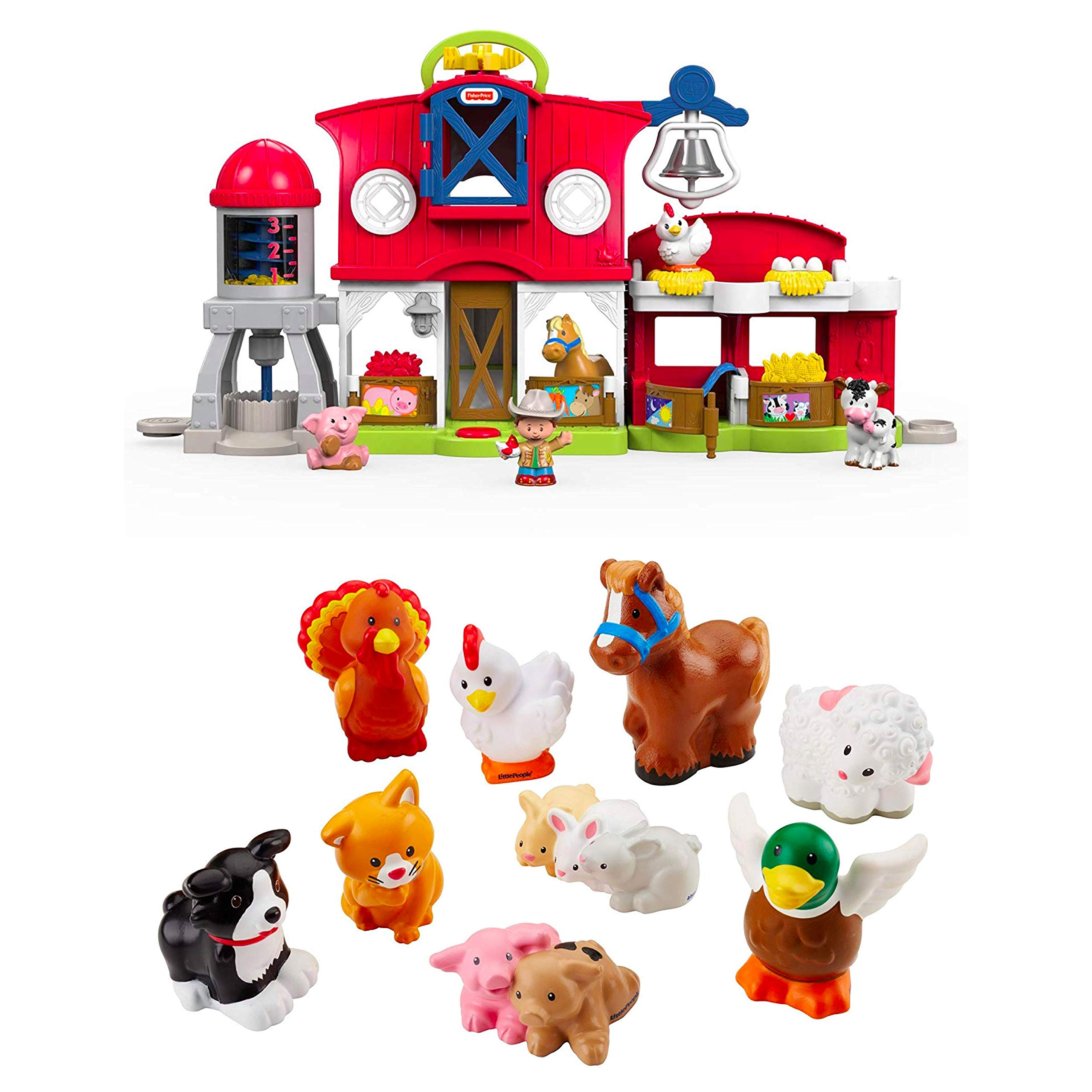 Fisher-Price Little People Caring for Animals Farm Set Bundled Little People Farm Animal Friends with Baby Bunnies & Piglets