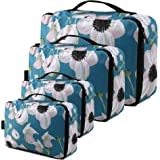 Compression Packing Cubes Bulk 4 Pack Compact Travel Organizer Bags w Double Zip Beautiful Floral Packing Pods for…