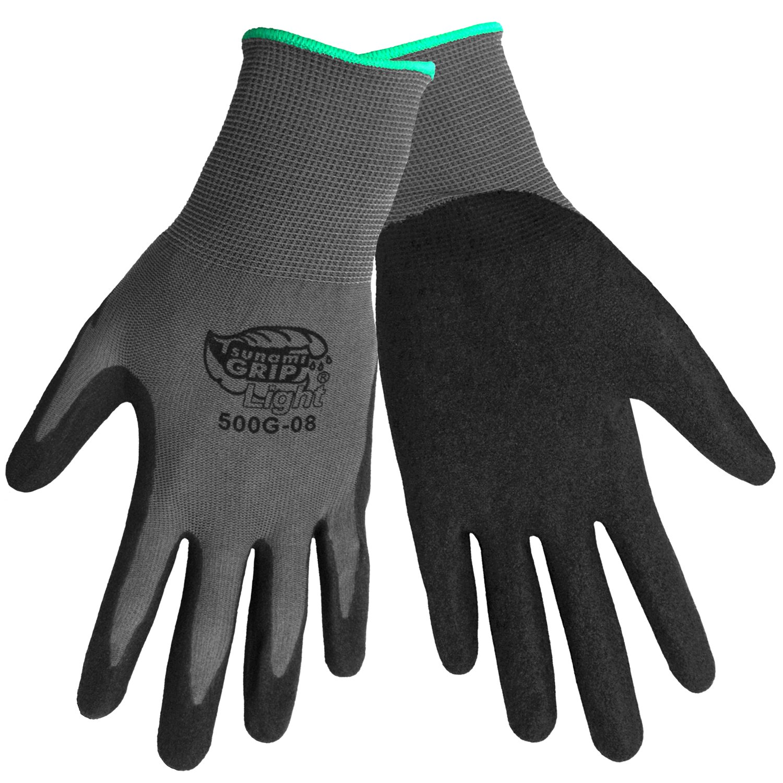 Global Glove 500G Tsunami Grip Air Injected Nitrile Glove, Work, Large, Black/Gray (Case of 72)