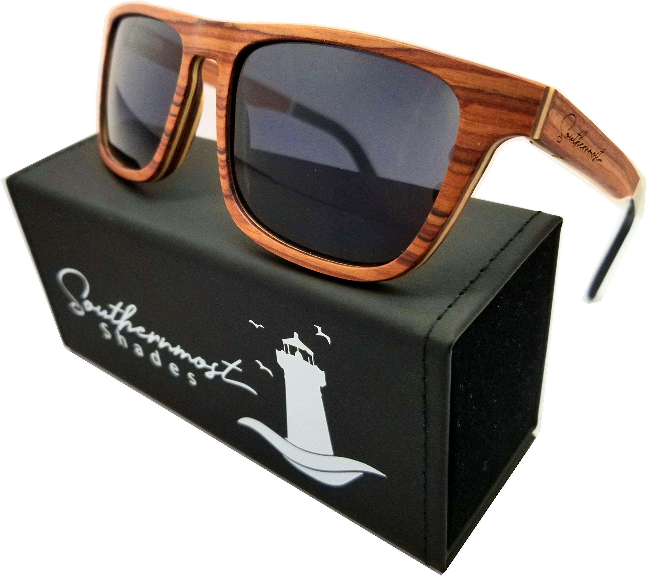 Natural Wood Sunglasses for Men - Wooden Frame - Genuine Polarized Lenses (Rosewood - Dark Lenses)