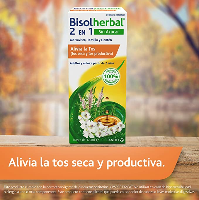 Bisolherbal 2 en 1 - Sin azúcar - tos seca y productiva - Jarabe 120ml - Ingredientes de origen natural