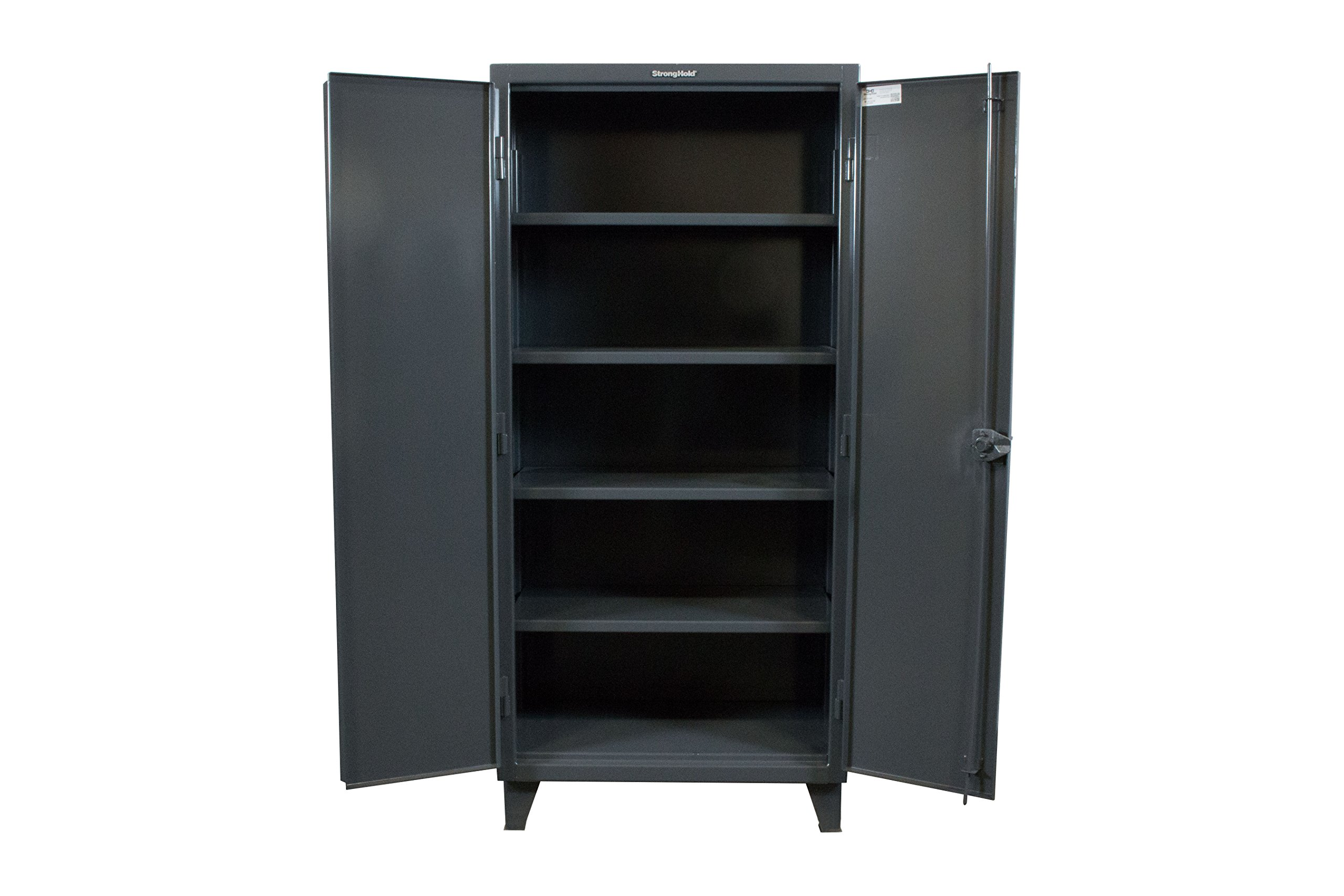 Strong Hold, 36''W x 24''D x 78''H, Industrial Cabinet, Heavy-Duty, Welded and Assembled, 12-Gauge Steel, Dark Gray, 4 Adjustable Shelves with 1,900 lbs. Capacity Each - USA