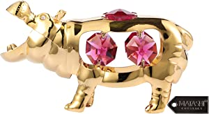 Matashi 24K Gold Plated & Crystal Studded Open Mouth Hippopotamus Ornament Collectibles Mini Hippo River Animal Figurine for Table Home Decoration, Christmas Tree Ornament - Great Gifts idea