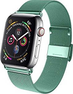 GBPOOT Band Compatible with Apple Watch Band 38mm 40mm 42mm 44mm, Wristband Loop Replacement Band for Iwatch Series 6/SE/5/4/3/2/1,Pine Green,42mm/44mm