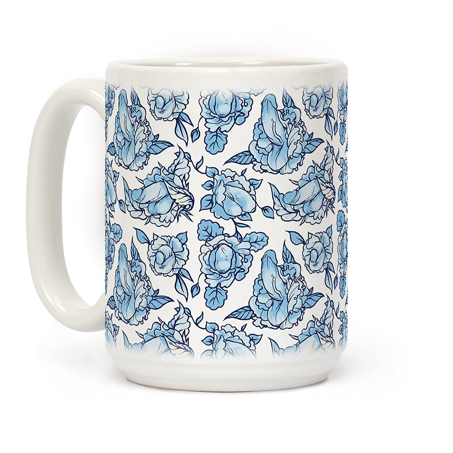 Amazon com lookhuman floral penis blue white 15 ounce ceramic coffee mug kitchen dining