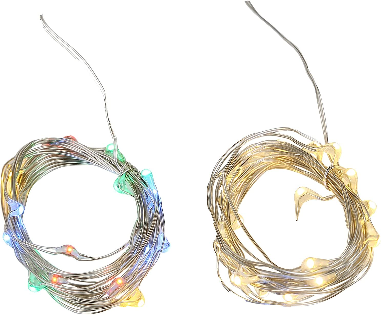 Twinkle Fairy String Lights Strands with 20 LEDs,Timer, Battery Operated for Easter, Garden, Home, Wedding, Party, Christmas Decoration(Set of 2)(Warm White & Multi Color)