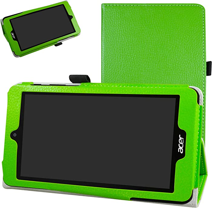 """Acer B1-780 / B1-790 Case,Mama Mouth PU Leather Folio 2-Folding Stand Cover with Stylus Holder for 7"""" Acer Iconia One 7 B1-780 / Iconia One 7 B1-790 Android Tablet,Green"""