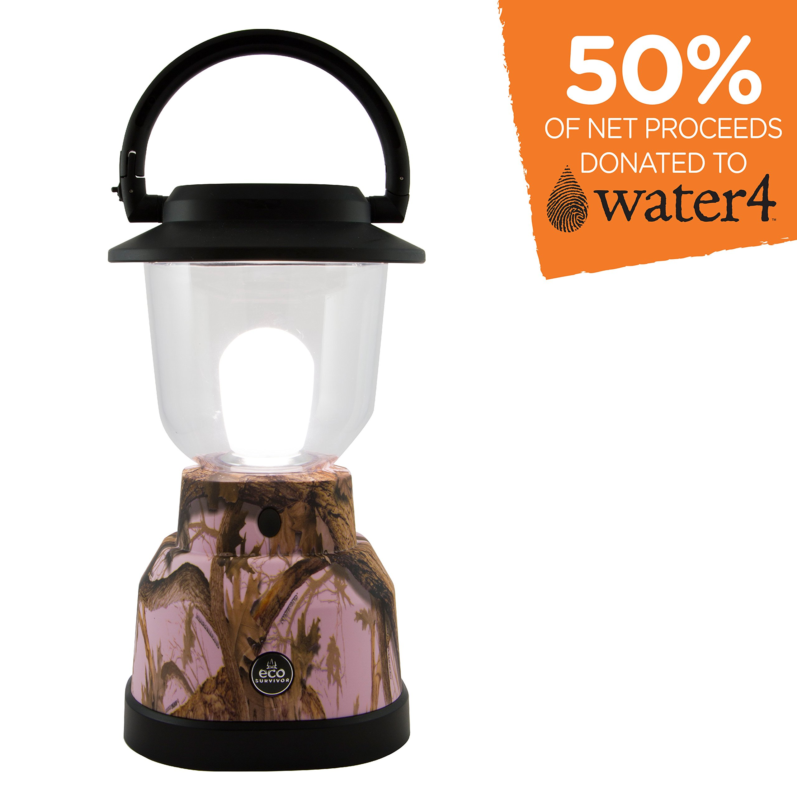 EcoSurvivor LED Lantern, Pink Camouflage, Outdoor, Waterproof, Lasts 180 Hours, Hanging Camping Lantern, Carabiner Handle, Great for Hiking, Storms, and Emergencies, 50% Charity Give Back, 11238