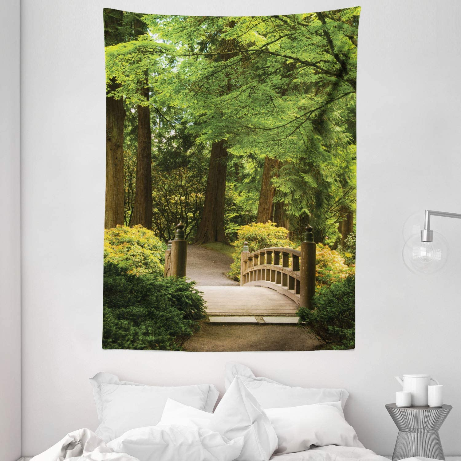 "Ambesonne Japanese Tapestry, Wooden Bridge Over Pond in Garden Calmness in Shadow of Trees Serenity in Nature, Wall Hanging for Bedroom Living Room Dorm, 60"" X 80"", Green Brown"