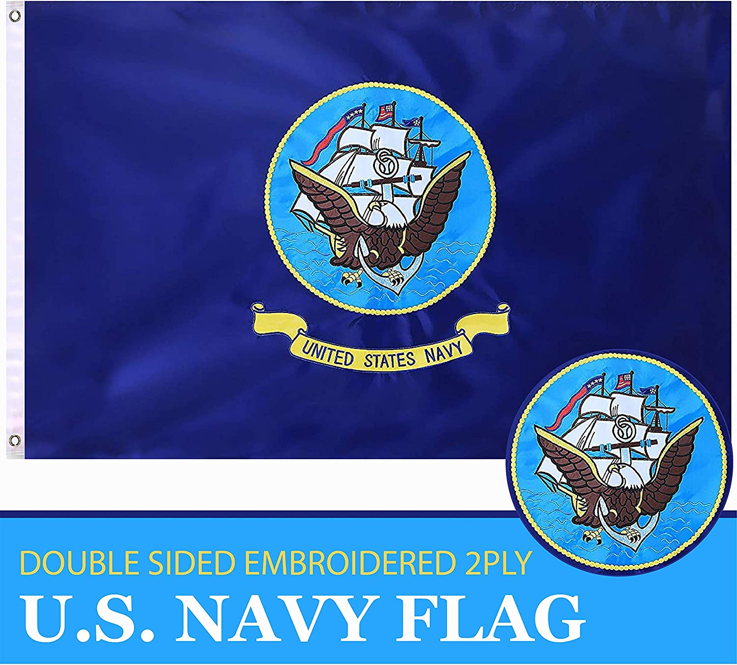 G128 - U.S. Navy Flag 2ftx3ft 2x3 2'x3' Double Sided 2ply Embroidered Heavy Duty Brass Grommets