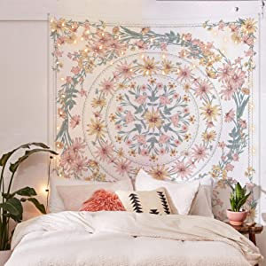 Simpkeely Mandala Floral Medallion Tapestry, Sketched Flower Plant Boho Wall Hanging, Bohemian Hippie Tapestries for Bedroom Living Room Dorm Home Décor 59.1 x 80 Inches (RosyBrown)