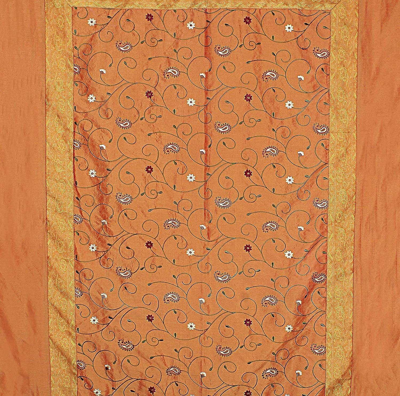 Buy Radhika Jaipur 100% Silk Color Computer Embroidery Orange with