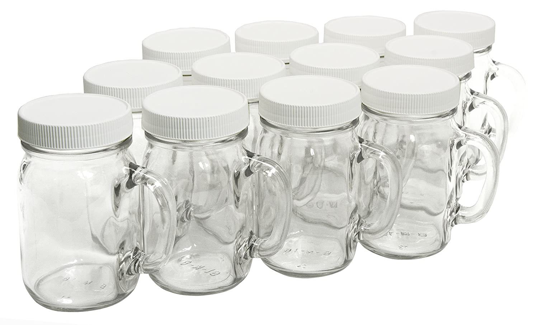 With White Plastic Lids North Mountain Supply Glass Pint Mug Handle Mason Drinking Jars Case of 12