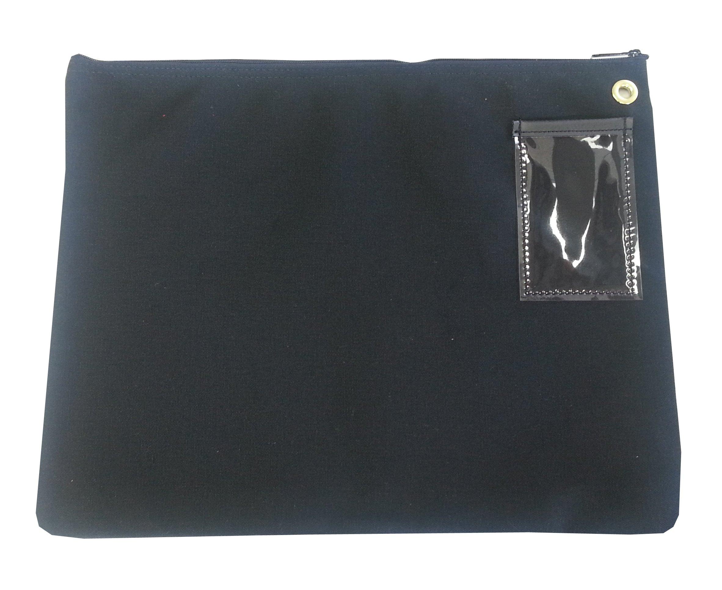 Interoffice Mailer Canvas Transit Sack Zipper Bag 18w x 14h Black by Cardinal Bag Supplies (Image #2)